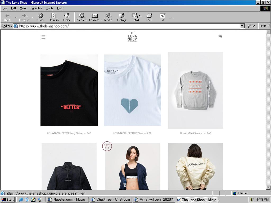 The Lena Shop Detail in a Windows 98 Internet explorer